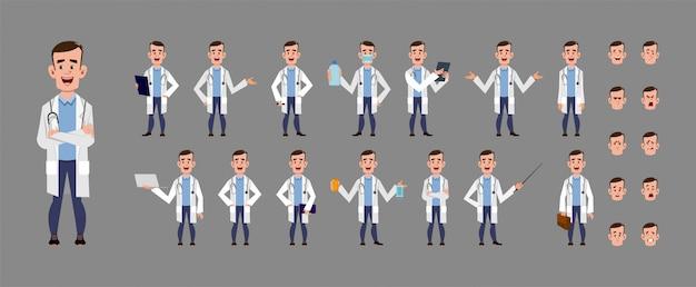 Giovane medico set di caratteri del fumetto