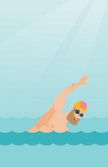 Giovane nuotatore sportivo caucasico.