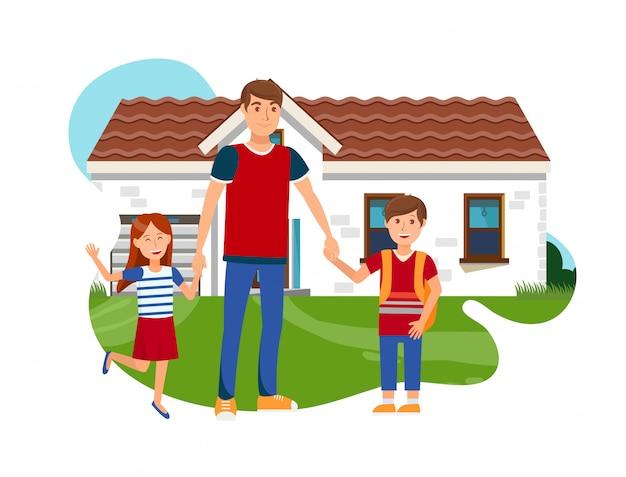 Giovane padre con il vettore piano della figlia e del figlio