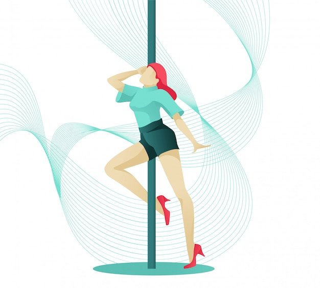 Giovane personaggio femminile del ballerino del palo nella posa elegante