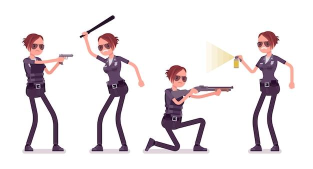 Giovane poliziotta al banner di attacco e difesa