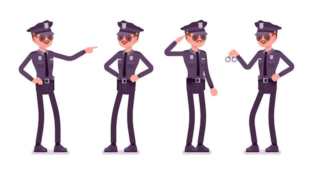 Giovane poliziotto felice
