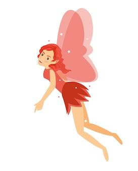 Giovane ragazza bella fata angelica volare nel suo costume rosso