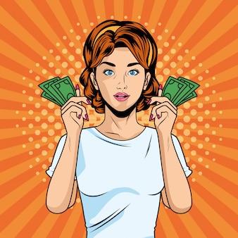 Giovane ragazza con bollette di dollari pop art stile personaggio