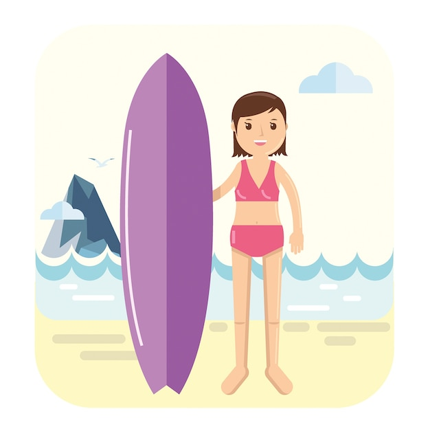 Giovane ragazza surfista posa accanto alla sua tavola da surf