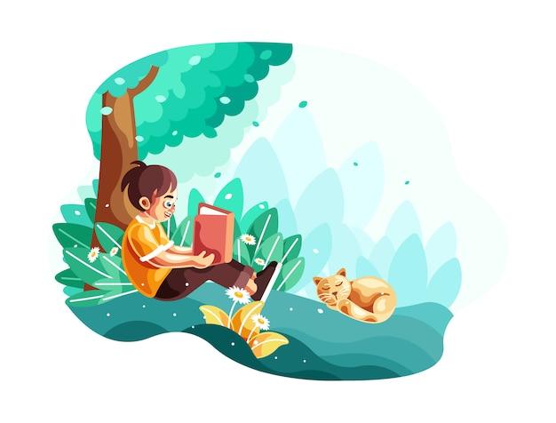 Giovane ragazzino che legge un libro che si siede sotto l'illustrazione dell'albero