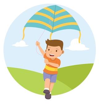Giovane ragazzo che gioca aquilone nel campo