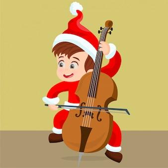 Giovane ragazzo che suona il violoncello