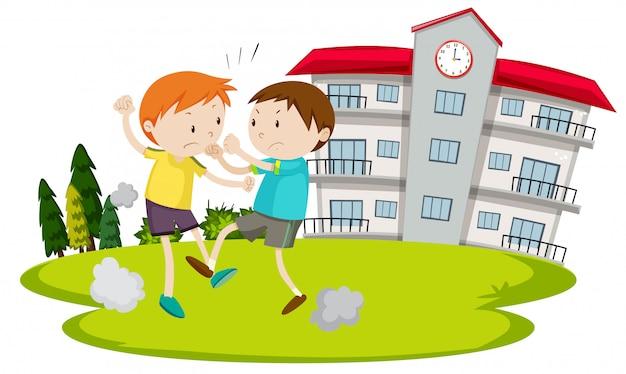 Giovane ragazzo combattendo di fronte a scuola