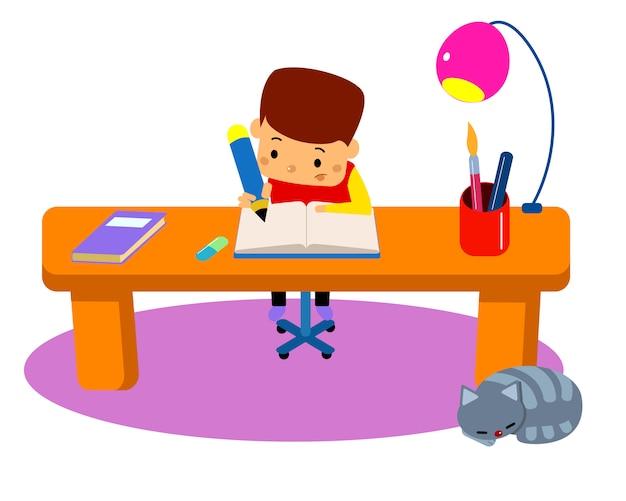 Giovane ragazzo facendo i compiti.