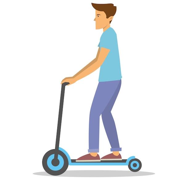 Giovane ragazzo in sella al suo scooter da calcio per lavorare