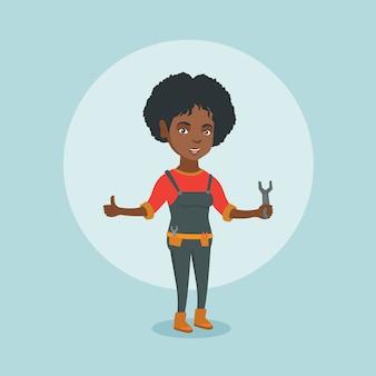 Giovane riparatore afroamericano che tiene una chiave