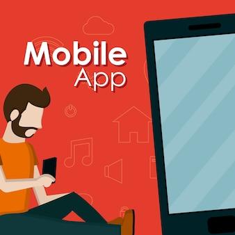 Giovane seduto e utilizzando le app mobili per smartphone