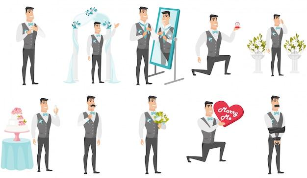 Giovane set da sposo caucasico