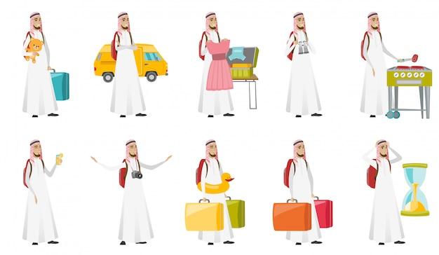 Giovane set di uomo del viaggiatore musulmano