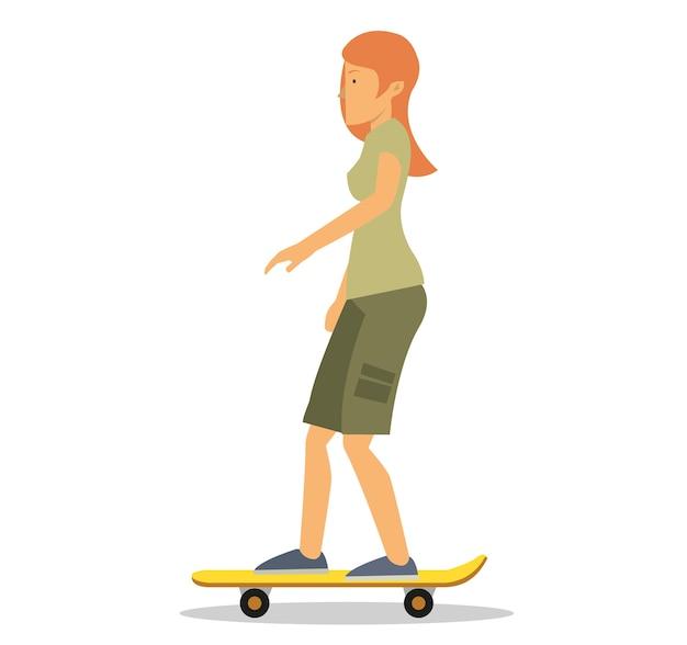 Giovane signora fai scorrere la sua tavola da skateboard