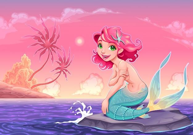 Giovane sirena vicino alla riva illustrazione vettoriale cartone animato