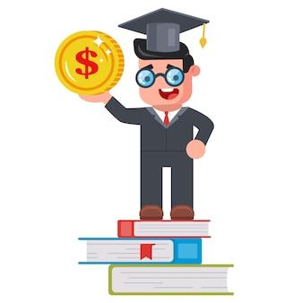 Giovane studente con una moneta in mano e in piedi sui libri