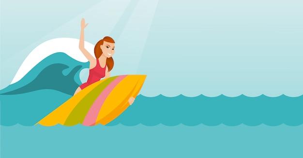Giovane surfista caucasico in azione su una tavola da surf