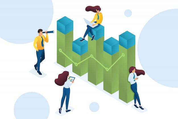 Giovane team di imprenditori impegnati nell'analisi dei dati aziendali. concetto di analisi dei dati.