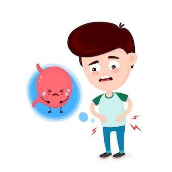 Giovane triste malato con intossicazione alimentare e carattere di stomaco