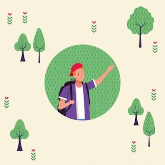 Giovane turista uomo con illustrazione di carattere borsa da viaggio