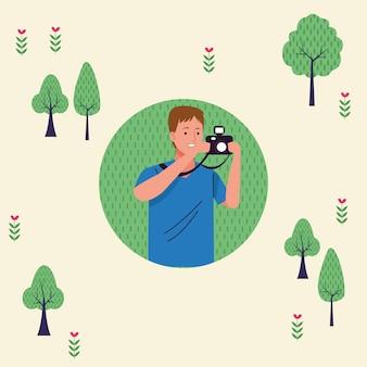 Giovane turista uomo utilizzando la fotocamera carattere fotografico illustrazione