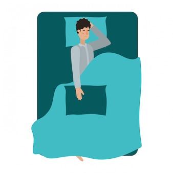 Giovane uomo a letto avatar personaggio