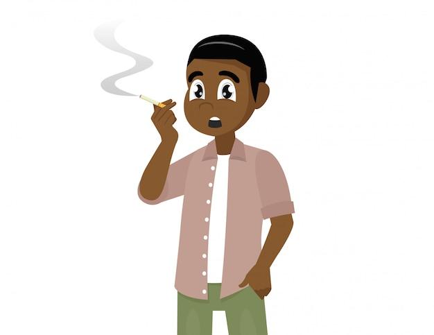 Giovane uomo africano che fuma un'illustrazione della sigaretta