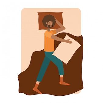 Giovane uomo afro a letto avatar personaggio
