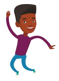 Giovane uomo afroamericano che salta.