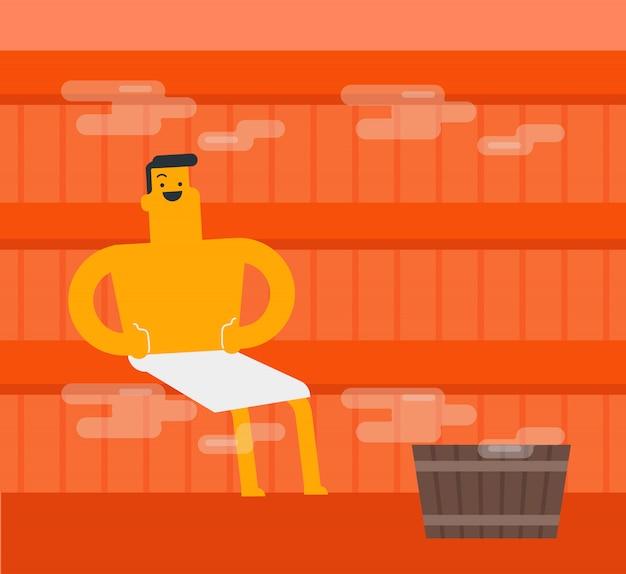 Giovane uomo bianco caucasico che si distende nella sauna.