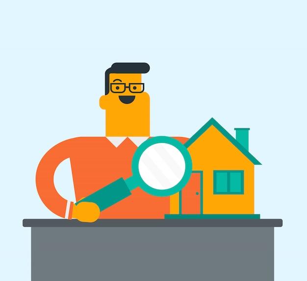 Giovane uomo bianco caucasico in cerca di una casa.