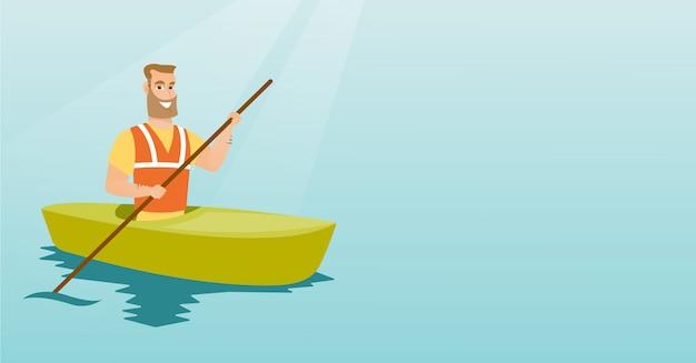 Giovane uomo caucasico che viaggia in kayak.