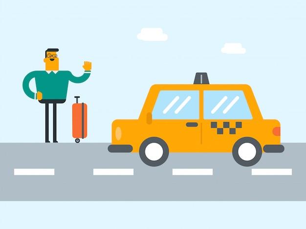 Giovane uomo caucasico con una valigia autostop.