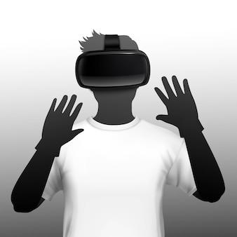 Giovane uomo che indossa la cuffia di simulazione di realtà virtuale e aumentata