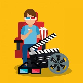 Giovane uomo con occhiali 3d e icone del cinema