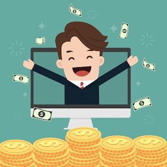 Giovane uomo d'affari felice che getta soldi su