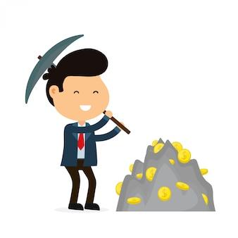 Giovane uomo d'affari sorridente divertente felice con un piccone che lavora nella miniera della moneta dei soldi.