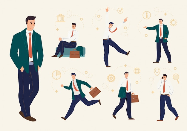 Giovane uomo d'affari work situations flat vector set