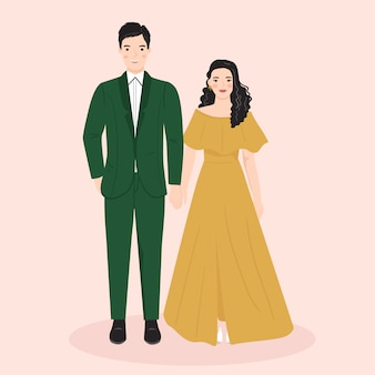 Giovane uomo e donna, coppia sposi nel matrimonio, abito formale. illustrazione vettoriale alla moda