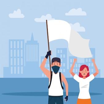 Giovane uomo e donna del fumetto che protestano tenendo una bandiera bianca