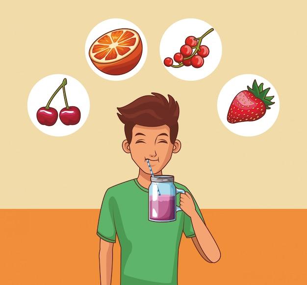 Giovane uomo e frutta
