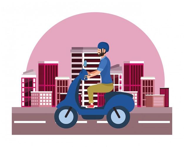 Giovane uomo in sella a moto scooter