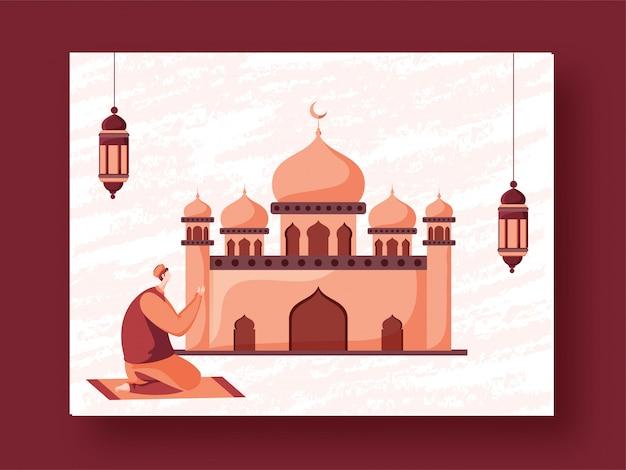 Giovane uomo musulmano che offre namaz davanti alla moschea e alle lanterne sospese.