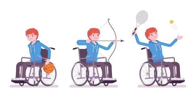 Giovane utente su sedia a rotelle maschio che fa attività sportiva