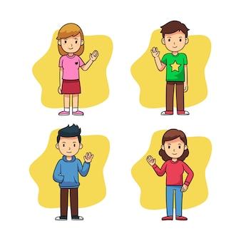 Giovani agitando la mano insieme