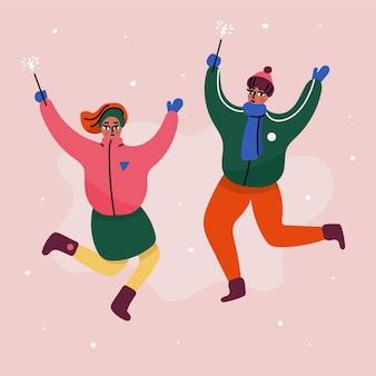 Giovani amici che indossano il salto dei vestiti di inverno