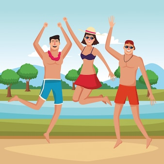Giovani amici e cartoni animati estivi