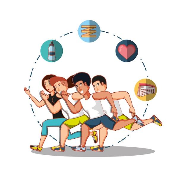 Giovani atleti che praticano sport con icone di stile di vita sano
